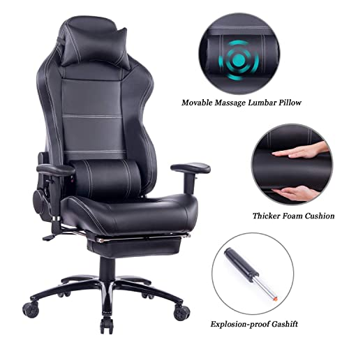 Healgen Back Massage Gaming Chair With Footrest Pc Computer Video Game Racing Gamer Chair High Back Reclining Executive Ergonomic Desk Office Chair With Headrest Lumbar Support Cushion 263black Buy Products Online With