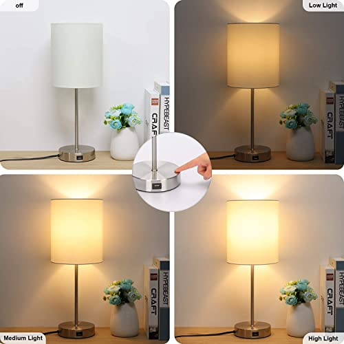 Usb Bedside Table Lamp 3 Way Dimmable Touch Lamp Modern Nightstand Lamp With Round Fabric Lampshade Metal Base Ambient Light For Bedroom Office Guest Room Dorm 6w 2700k Led Edison Bulb Included