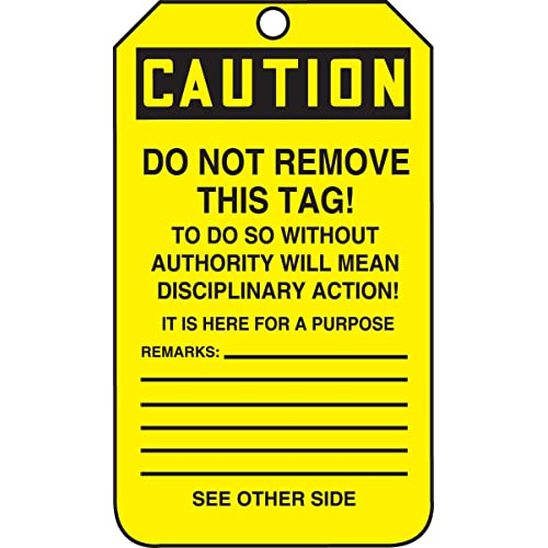 Pack of 25 PF-Cardstock 5.75 Length x 3.25 Width x 0.010 Thickness Black on Yellow Accuform Signs MDT641CTP Safety Tag LegendCaution Out of Service