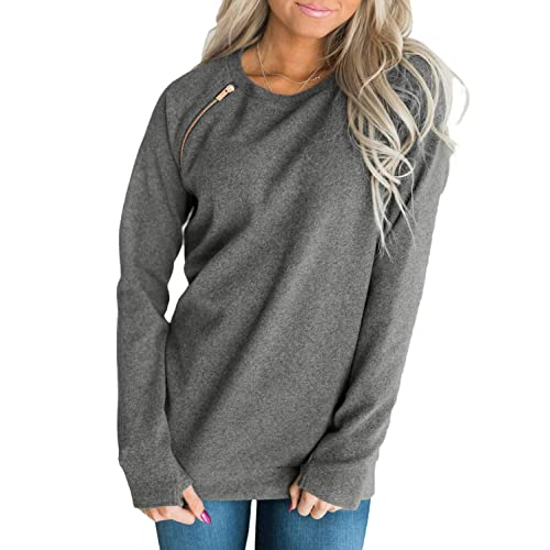 Odosalii Women/'s Crew Neck Sweatshirt Lace Up Sleeve Pullover Front Pocket Tunic Top