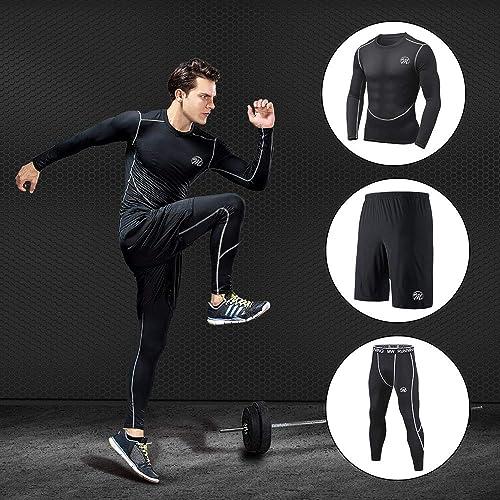 YAANCUN Mens Sports Leggings Compression Tights Dry Baselayer Leggins Traning Pants