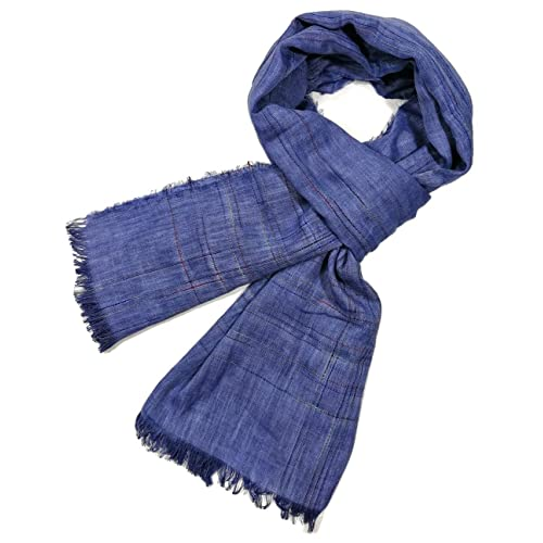 GERINLY Men Scarves Twill Cotton-Linen Long Winter Scarf Black