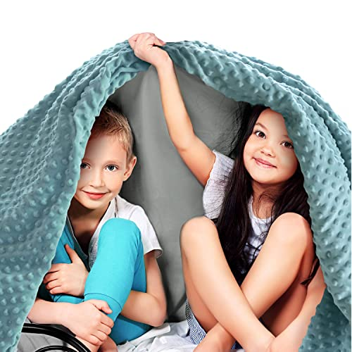 CHIAVE Weighted Blanket for Kids 5 lbs 36x48 with Plush Minky I Removable and Washable Cover I Perfect for Children from 30 to 60 lbs Navy and Blue