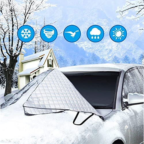 S-summer Zenoplige Car Windscreen Frost Cover Snow Magnetic Cover Windshield Sun Protector Waterproof Dust Cover and Ice Protector in All Weather Car Cover with Two Mirror Covers