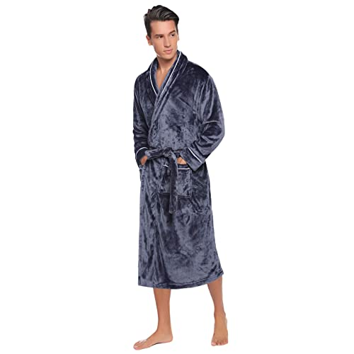 Gifts for Men SUGLORY Hooded Dressing Gowns for Men Soft /& Cosy Towelling Bathrobe Full Length Wrap Nightwear