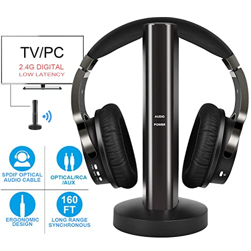 92b49be6a99 Wireless TV Headphones with 2.4G Digital RF Transmitter, Hi-Fi Over-Ear