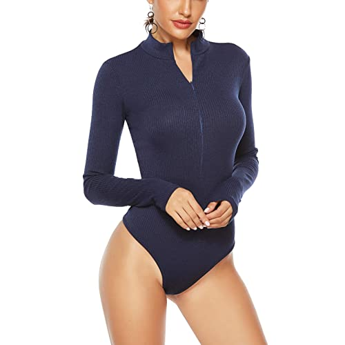 AS Women Ladies Polo Turtle Neck Bodysuit Long Sleeve Leotard Plain Stretch