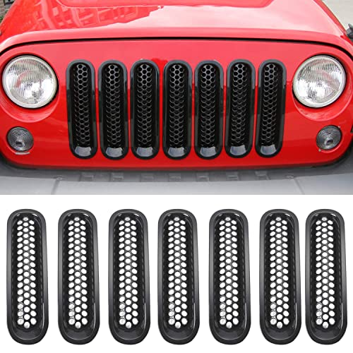 IPARTS Matte Black Front Grill Mesh Grille Inserts Kit for Jeep Wrangler /& Wrangler Unlimited 2007-2015 7PCS Upgrade Clip in Version