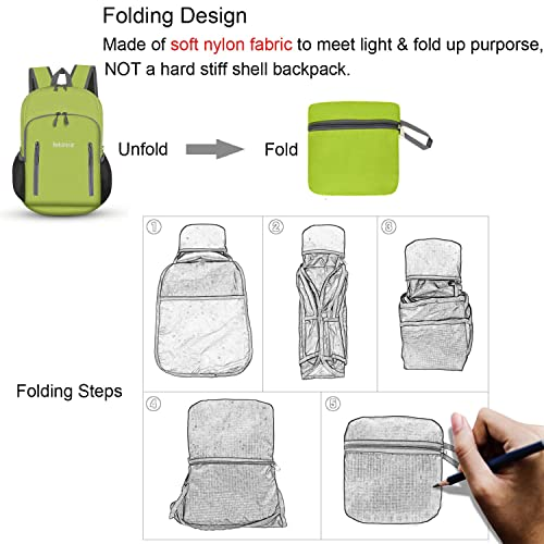 Bekahizar 20L Ultra Lightweight Backpack Foldable Hiking Daypack Rucksack Water