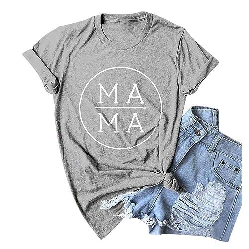Mama Shark T Shirt Womens Funny Short Sleeve Letter Print Graphic Cute Tops Tees