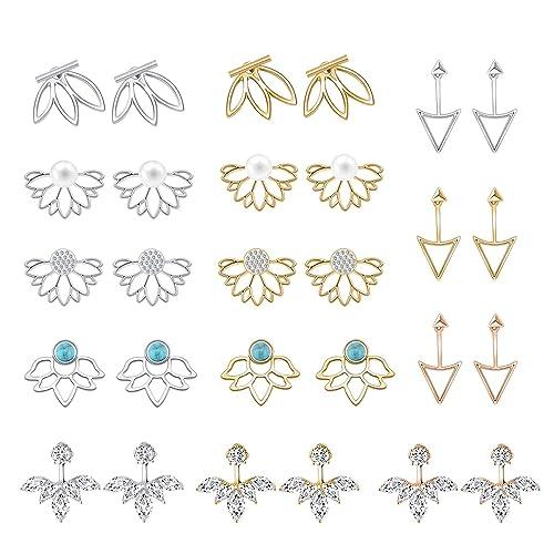 c3690d5ac3c83 Buy 14 Pairs Ear Jackets Lotus Flower Earrings Jackets Simple Chic ...