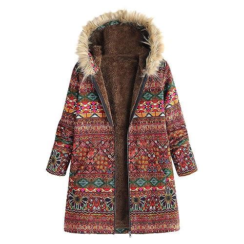 JOFOW Womens Jackets Coats Solid Cat Print Pattern Fleece Lined Hooded Warm Long Loose Parka Winter Plus Size XXXL