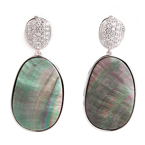 Oversized Metallic Floral Statement Dangle Earrings KELMALL COLLECTION