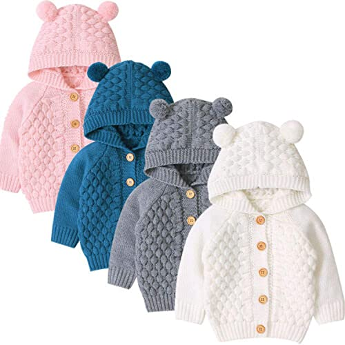 Houystory Baby Girls Coat Jacket Winter Cartoon Ears Hooded Outerwear Clothes Kids Warm Zip Fluffy Long Sleeve Outwear Tops