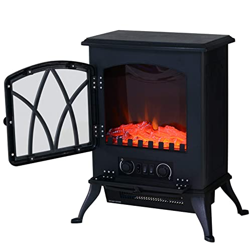 NETTA Electric Fireplace Stove Heater 2000W with Fire Flame Effect Cream Freestanding Portable Electric Log Wood Burner Effect Arch Design