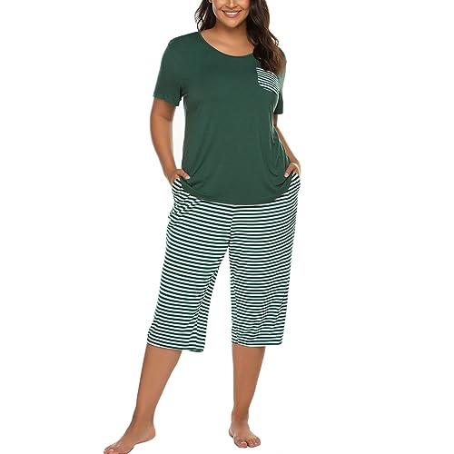 INVOLAND Womens Plus Size Pajama Set V-Neck Sleepwear Short Sleeve Pajamas Soft Pj Set Nightwear Set 16W-24W
