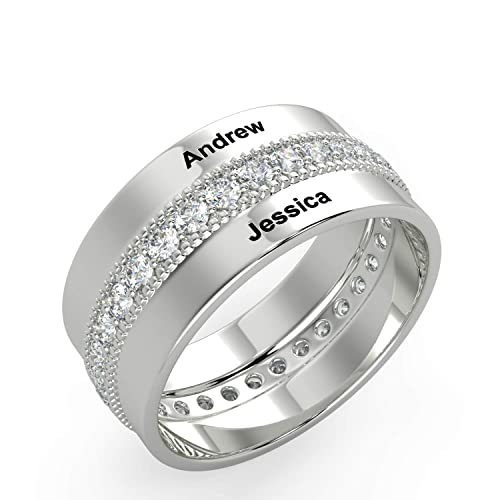 Smileface Personalised Engagement Crystal Silver Rings For Men And
