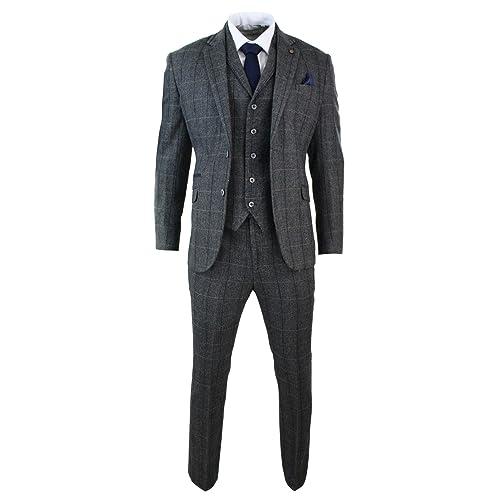 MENS CAVANI CONNALL 3 PIECE BLUE CHECK TWEED SLIM FIT SUIT IDEAL FOR WEDDINGS