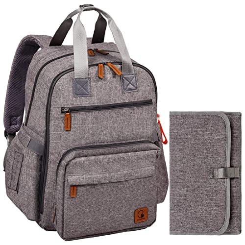 Multi-Function,Waterproof,Large Diaper Bag Backpack with Insulated Pocket for Mum/&Dad,Grey Baby Changing Bag,Rucksack Changing Bag,Baby Bag,Nappy Bag