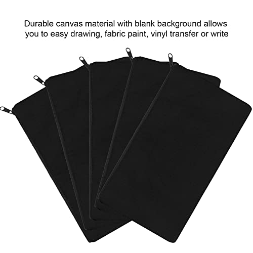 Black,White, 8 x 5 Party Gift Multi-Purpose Blank DIY Craft Pouches for Makeup SAKOLLA 12 Pack Canvas Zipper Bags Organize Storage Travel