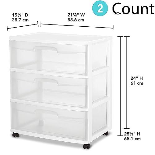 White STERILITE 29308001 Wide 3 Drawer Cart
