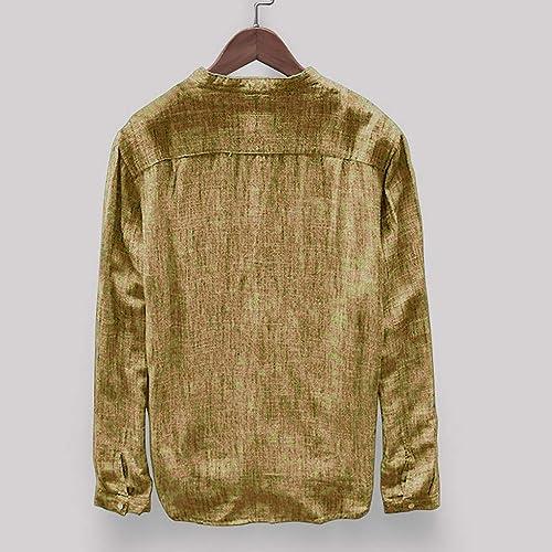 iZHH Men Shirt Fashion Solid Color Mens Long Sleeve Shirt
