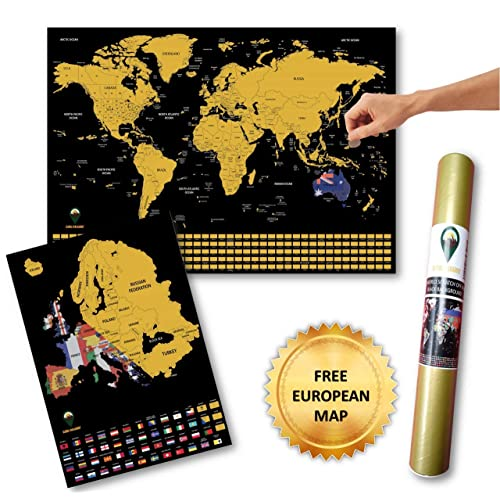 Countries and Facts White Global Walkabout Scratch Off Map with colours background Deluxe Travel Size World Map Poster Travel Gift