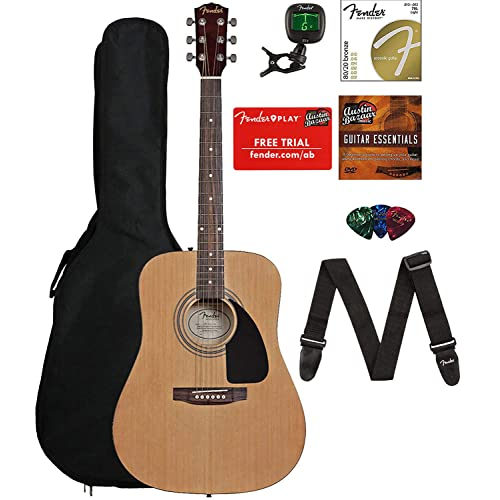 3c29ef1df7 Buy Fender 0950816021-COMBO-DLX Acoustic Guitar Bundle with Gig Bag, Tuner,  Strings, Strap, Picks, Austin Bazaar Instructional DVD, and Polishing Cloth  with ...