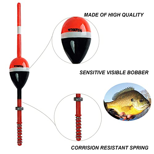 1.25X0.75X6 THKFISH Fishing Floats and Bobbers Balsa Wood Floats Spring Bobbers with Lead Oval Stick Floats Slip Bobbers for Crappie Panfish Walleyes/ 2X1.14X5.86 5pcs 1X0.7X6