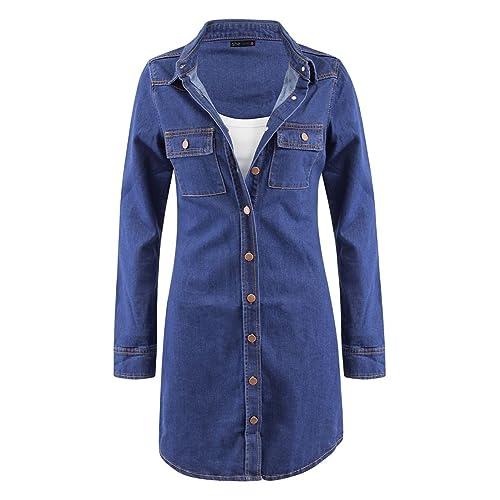 Womens Ladies Short Sleeve Button Down Denim Shirt Dress Top Size UK 8-14