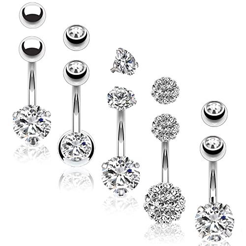 18PC Belly Button Ring and 18 Balls Black Surgical Steel 14G Navel Body Piercing