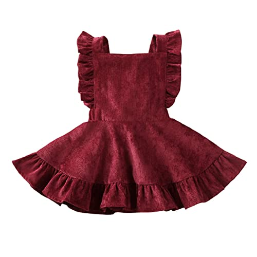 FUFUCAILLM Baby Girl Buttons Suspender Skirt Overall Outfit Brace Summer Dress Clothes
