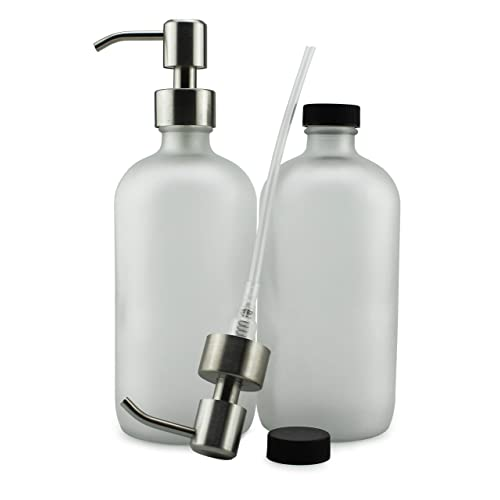 cb896409ef50 Buy Cornucopia Brands Frosted Glass Soap Dispenser w/Stainless Steel ...