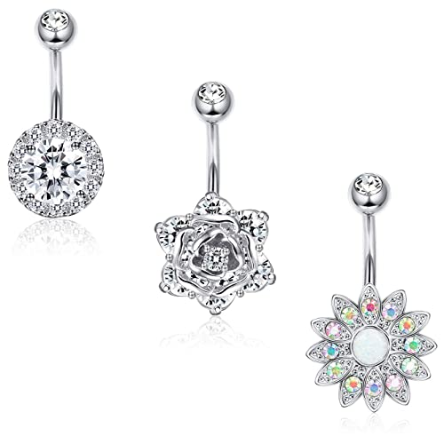 Briana Williams Belly Button Rings Surgical Steel Short Belly Ring Pack Opal CZ Turquoise Navel Piercing Jewelry for Women 10mm Silver Rose Gold