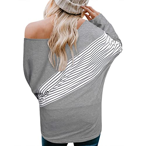 OUGES Womens Off Shoulder Casual Pullover Batwing Sleeve Tunic Tops Sweatshirts