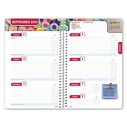 Dated Middle School or High School Student Planner for Academic Year 2019-2020 Block Style - 5.5x8.5 - Colorful Cover Bonus Ruler//Bookmark and Planning Stickers