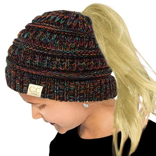 30120c5db8c4 Buy Kids Ponytail Messy Bun BeanieTail Soft Winter Knit Stretch Beanie Hat  with Ubuy Kuwait. B07JCGTQKQ