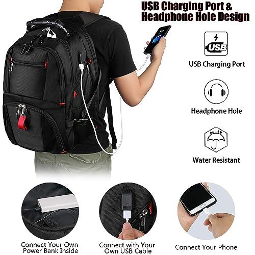 Yorepek Extra Large Backpack,TSA Friendly Durable Travel Computer Backpack USB