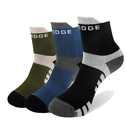 YUEDGE Mens Performance Wicking Cushion Athletic Crew Socks for Outdoor Sports Hiking Running