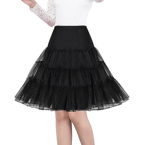 Ladies 50s Pin Up Rock N Roll Vintage Rockabilly Petticoat Skirt Fancy Dress