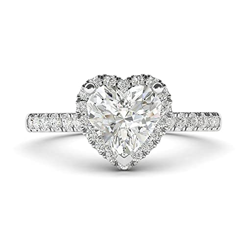 FB Jewels 925 Sterling Silver 6 Prong 1 Carat Round CZ Cubic Zirconia Engagement Ring /& Side Pave