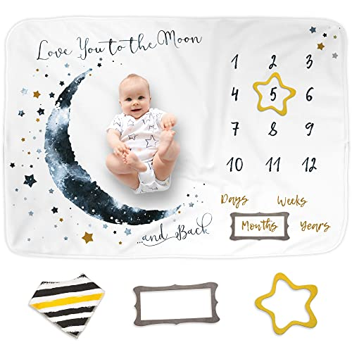 Little Luxury Lane Baby Milestone Blanket Set for Girl or Boy/—with 10 Milestone Cards/—Unisex Baby Monthly Growth Blanket for Photos/—Premium Newborn Babies Gifts