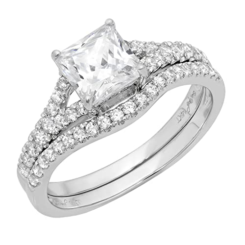 1.76ct Emerald Round Cut Solitaire 3 stone With Accent Best Quality Moissanite Ideal VVS1 D /& Simulated Diamond Engagement Promise Statement Anniversary Bridal Wedding Ring Solid 14k White Gold