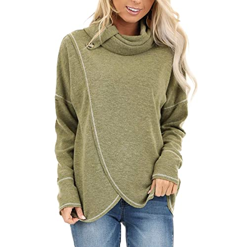 Ladies Casual Hoody Cowl Neck Asymmetric Blouse Long Sleeve Warm Jacket FZ79
