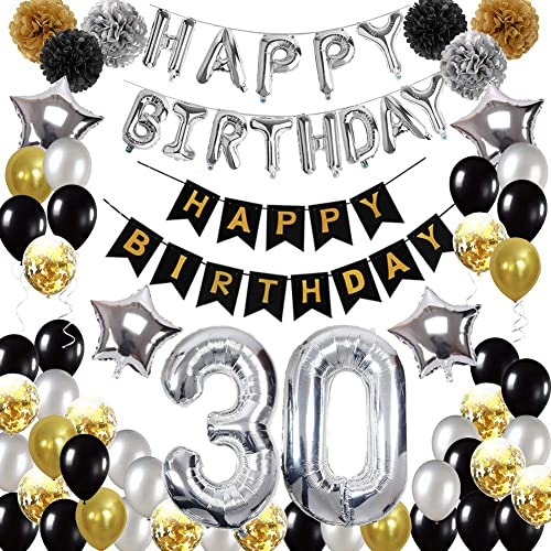 Hulaso 30th Birthday Decorations Black And Gold Party Decorations For Men Women Black And Gold Happy Birthday Banner Silver Birthday Balloons Star Foil Balloons Pom Poms Flowers Buy Products Online With