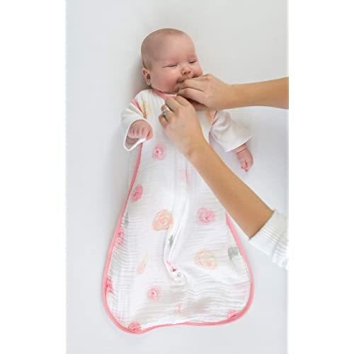 Pink Large Amazing Baby Muslin Sleeping Sack with 2-Way Zipper Watercolor Roses