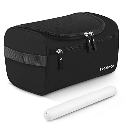 Waterproof Oxford, Black Zeamoco Travel Toiletry Bag Portable Dopp Kit with Toothbrush Case for Men Women Bathroom Shower Gym Shaving