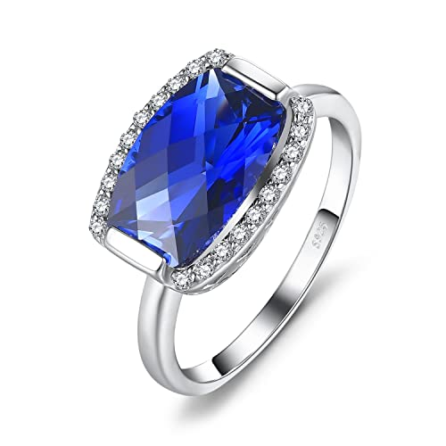 JewelryPalace Created Blue Sapphire Natural Swiss Blue Topaz Statement Ring 925 Sterling Silver