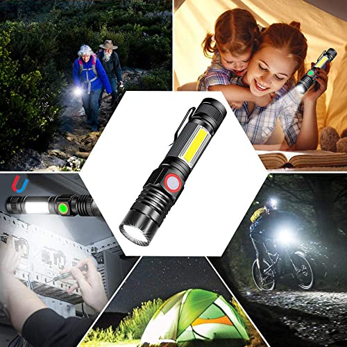 Included Battery Hiking Bright Rechargeable Flashlight Zoomable Pocket EDC Flashlight for Camping Side Work Light 2 Pack Spriak Magnetic Flashlights with Clip Home Power Outage
