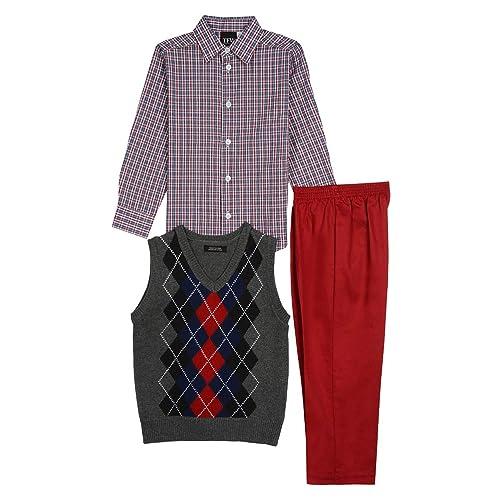 Good Lad Toddler /& 4//7 Boys Three Piece Burgundy Argyles Sweater Vest Set